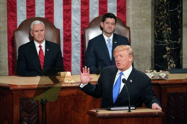 President Donald Trump delivers his first State of the Union address in the House Chamber of the U.S. Capitol on Tuesday.