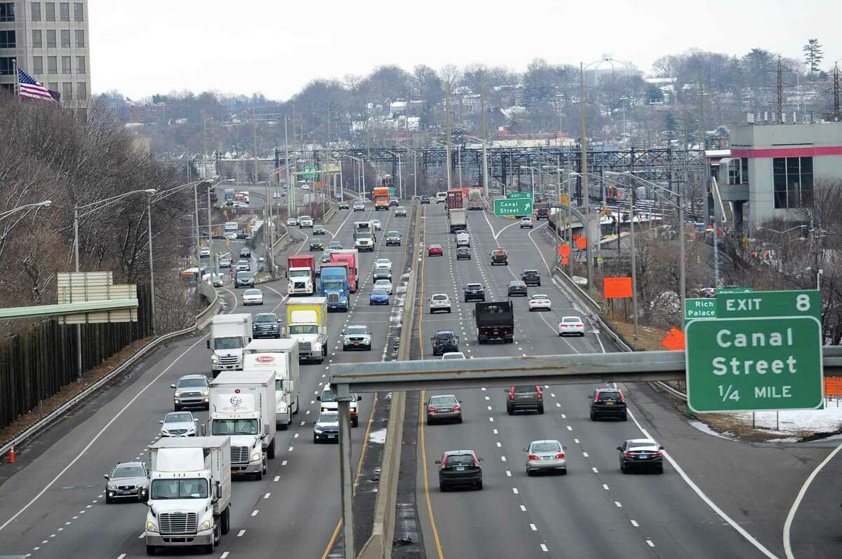 The Stamford section of I-95, looking north toward Bridgeport, on Tuesday. Gov. Malloy recently halted $4.3 billion worth of transportation projects across the state, including the widening of I-95 between Stamford and Bridgeport.