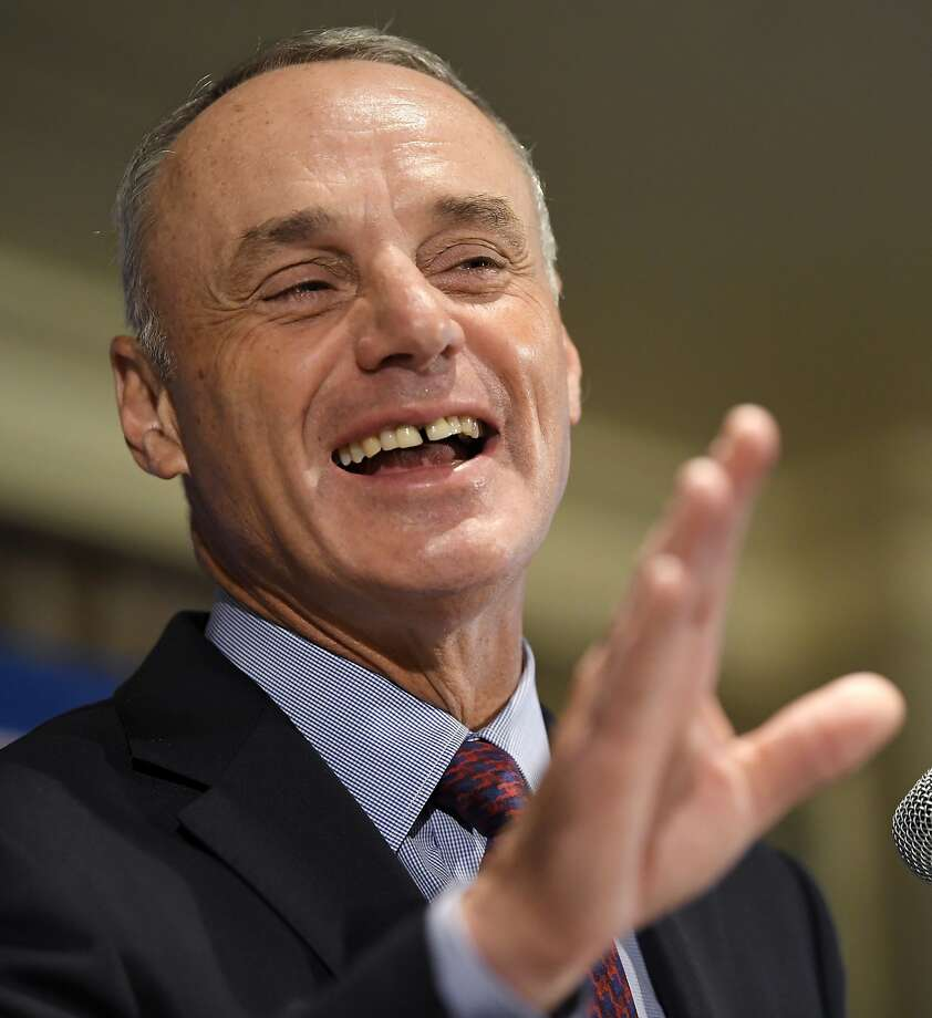 Major League Baseball commissioner Rob Manfred speaks during a news conference at the baseball owners meetings in the Four Seasons Hotel, Thursday, Feb. 1, 2018, in Los Angeles. (AP Photo/Mark J. Terrill) Photo: Mark J. Terrill, Associated Press