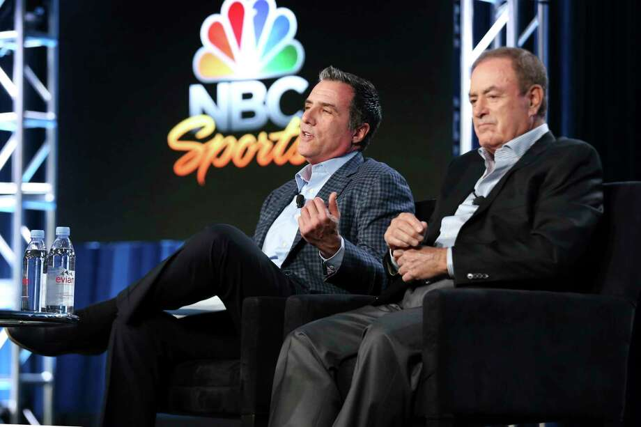Fred Gaudelli, left, and Al Michaels participate in the Super Bowl 52 panel during the NBCUniversal Television Critics Association Winter Press Tour on Tuesday, Jan. 9, 2018, in Pasadena, Calif. (Photo by Willy Sanjuan/Invision/AP) Photo: Willy Sanjuan / 2018 Invision