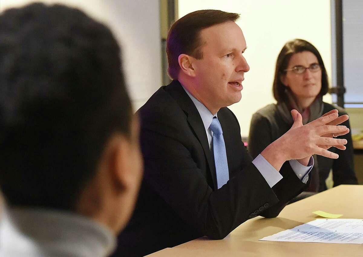 U.S. Sen. Chris Murphy speaks at a round table discussion hosted by Planned Parenthood of Southern New England, Thursday, Feb. 1, 2018, at the Hessel Education Center at 345 Whitney Ave. in New Haven. The discussion, prompted only days after Senate Republicans forced an unsuccessful vote to ban abortions after 20 weeks of pregancy, whether there are severe or fatal fetal anomolies or the safety of the mother is threatened. At right is State Rep. Cristin McCarthy Vahey (D-Fairfield).