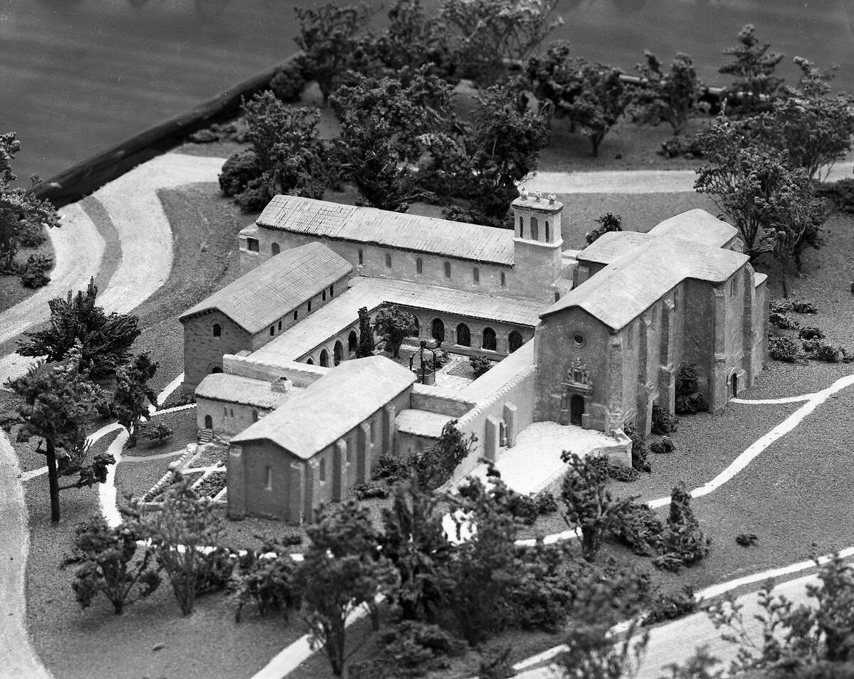 A model of the Spanish monastery donated to the DeYoung Museum by William Randolph Hearst, May 1948