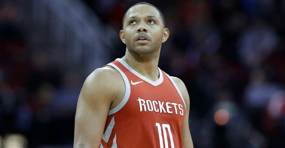 Houston Rockets guard Eric Gordon (10) checks the scoreboard after scoring during the second half of an NBA basketball game against the Minnesota Timberwolves Thursday, Jan. 18, 2018, in Houston. (AP Photo/Michael Wyke) Photo: Michael Wyke/Associated Press