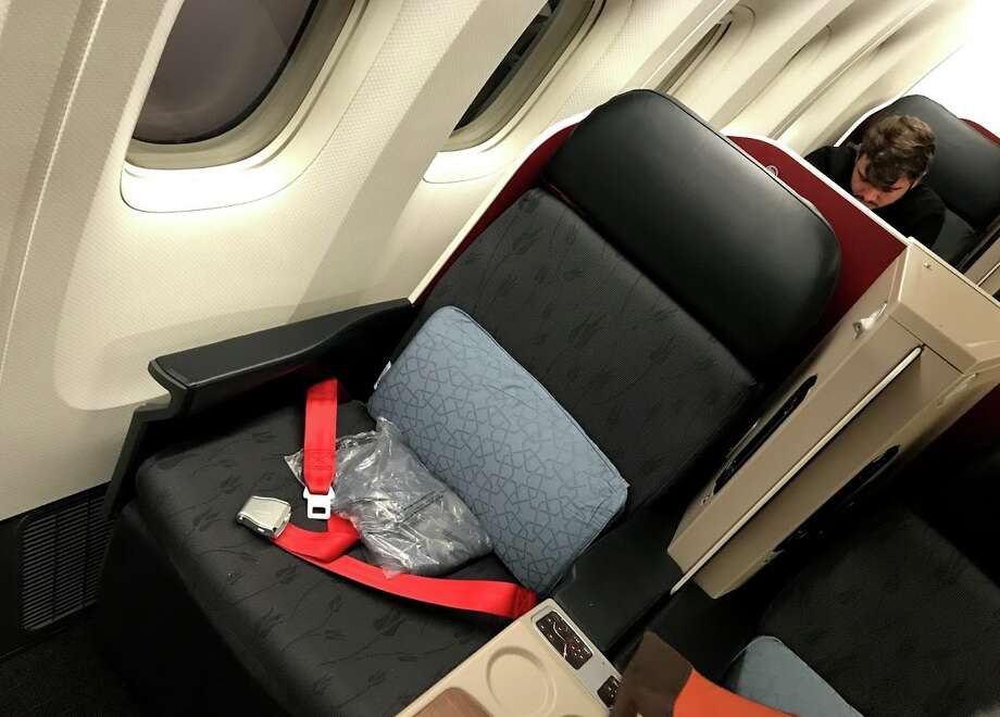 A very simple, yet very comfortable business class seat on Turkish Air. Seats in business class are configured 2-3 2 which means a dreaded middle seat, but with so much space, even a middle seat is not so bad. Photo: Chris McGinnis