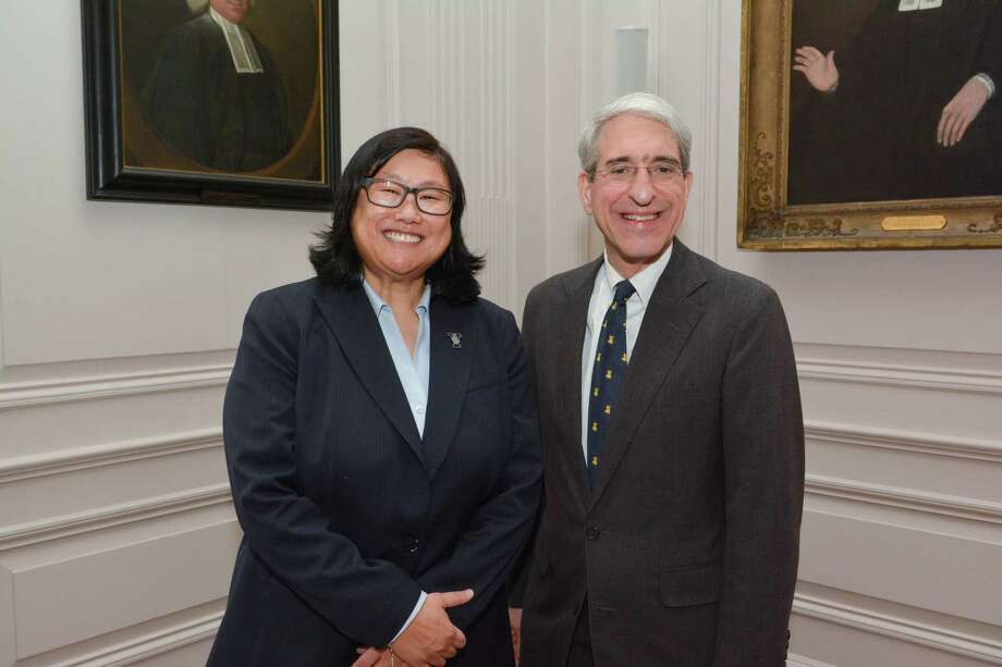 Vicky Chun was introduced as Yale's next athletic director by Yale President Peter Salovey. Chun, currently the athletic director at Colgate, will begin her duties in New Haven on July 1. Photo: Yale Athletics / Yale Owns Rights