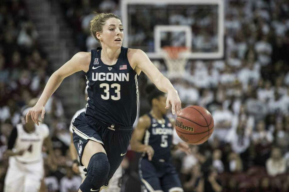 UConn's Katie Lou Samuelson dribbles the ball during the first half Thursday against South Carolina. Photo: Sean Rayford / Associated Press / The Associated Press