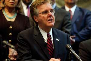 Texas Lt. Gov. Dan Patrick speaks to the media to announce the grant funding for rifle resistant vests for Texas police officers at Dallas Police Association Headquarters in Dallas on Tuesday, Jan. 9, 2018. The police officers ambushed in Dallas by a gunman during a 2016 racial equality march were wearing bulletproof vests, but they weren't strong enough to resist rifle fire. (Rose Baca/The Dallas Morning News via AP)