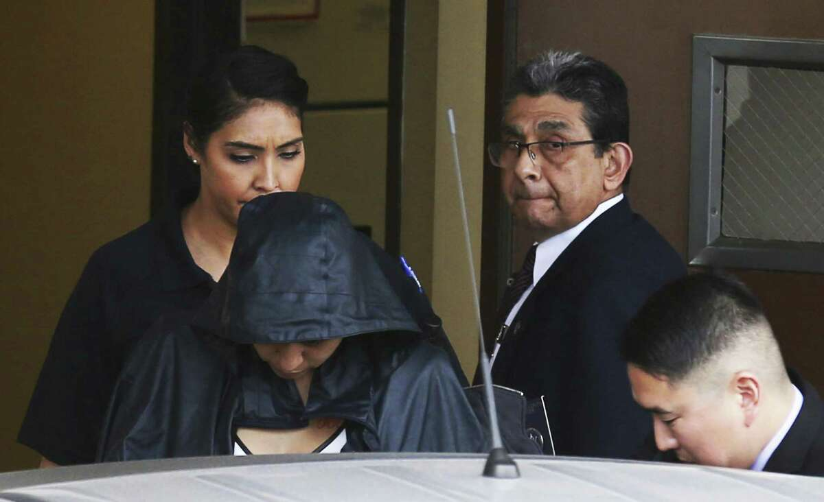 Government's star witness delivers shocking testimony Denise Cantu (in hooded jacket, front left) told jurors Thursday, Feb. 1, 2018, that Uresti would take her into the restroom at his law office and have sex with her in the shower.