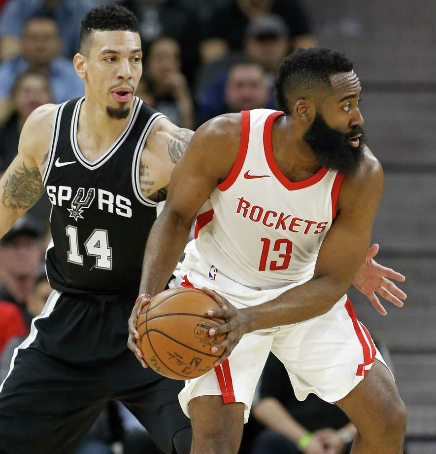 San Antonio Spurs' Danny Green defends Houston RocketsÕ James Harden during first half action Thursday Feb. 1, 2018 at the AT&T Center. Photo: Edward A. Ornelas, Staff / San Antonio Express-News / © 2018 San Antonio Express-News