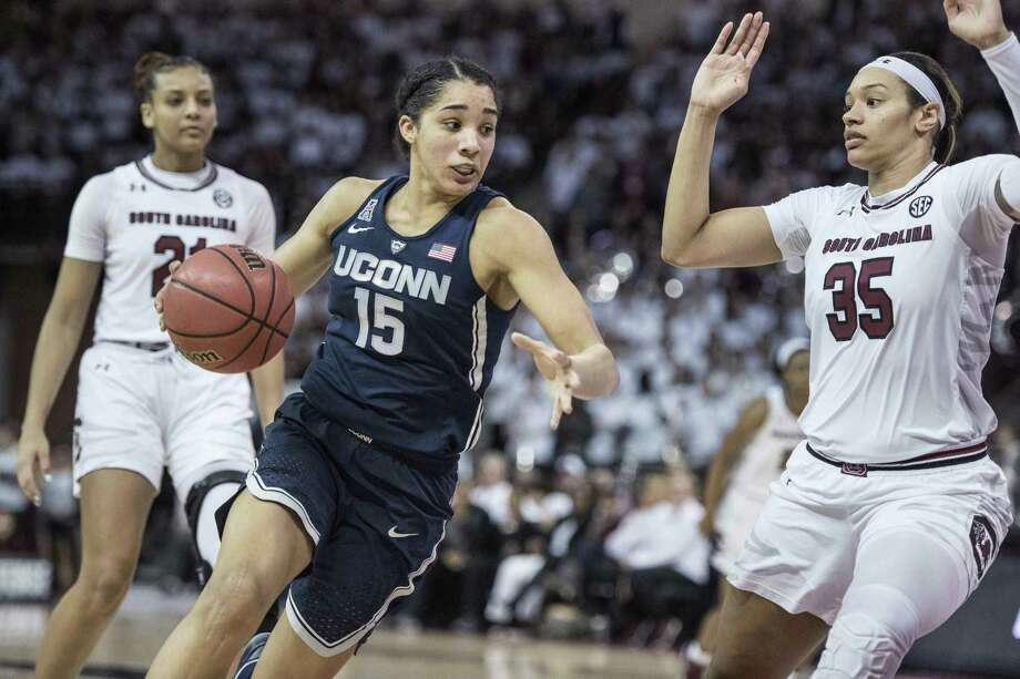Connecticut forward Gabby Williams (15) drives against South Carolina forward Alexis Jennings (35) during the first half of an NCAA college basketball game Thursday, Feb. 1, 2018, in Columbia, S.C. Connecticut defeated South Carolina 83-58. (AP Photo/Sean Rayford) Photo: Sean Rayford / Associated Press / The Associated Press