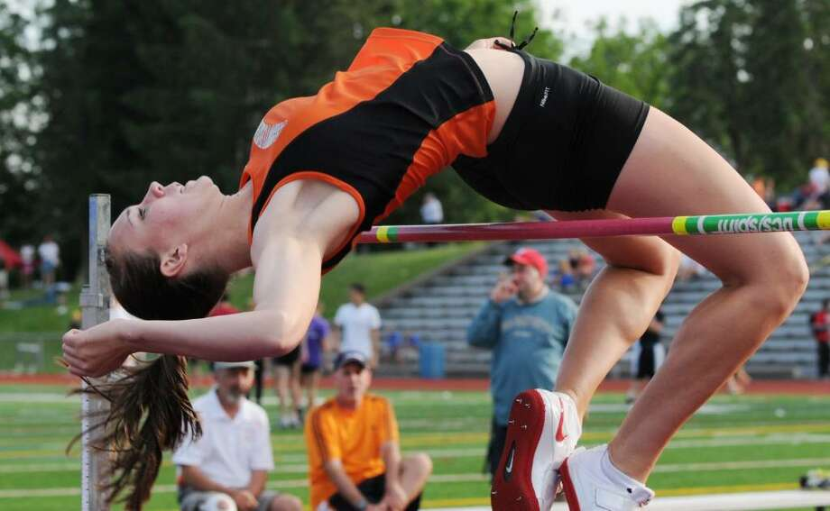 Sarah Palmer, a junior at Schuylerville High School, hits 5 feet, 7 3/4 inches to win the high jump competition at the Section II State Qualifier. (Luanne M. Ferris / Times Union) Photo: LMF