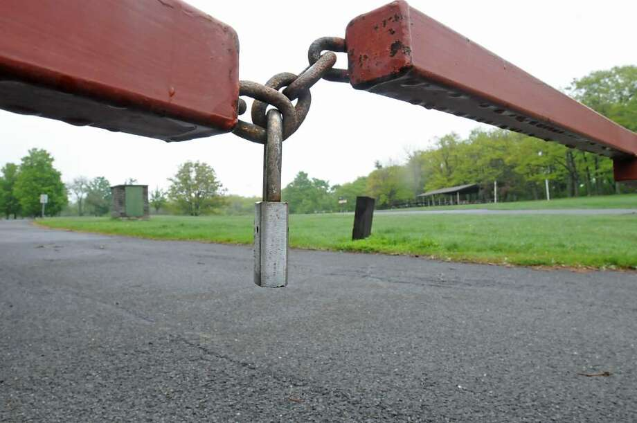Padlocked lots will greet visitors at Thacher state park in New Scotland starting Monday. Visitors will be asked to leave closed areas, state officials say.  (Lori Van Buren / Times Union) Photo: LORI VAN BUREN
