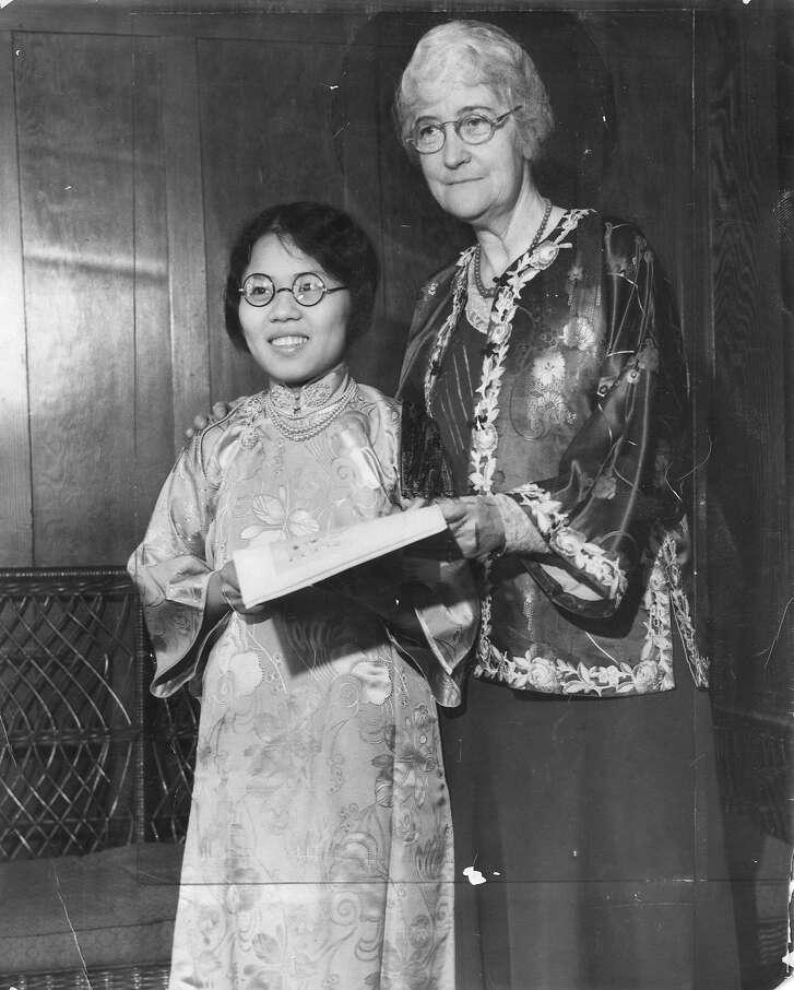 Hope Chow with Mrs. Donaldina Cameron,   Photo ran 10/17/1932 also 08/07/1955, p 4, 07/21/1957, p. 25