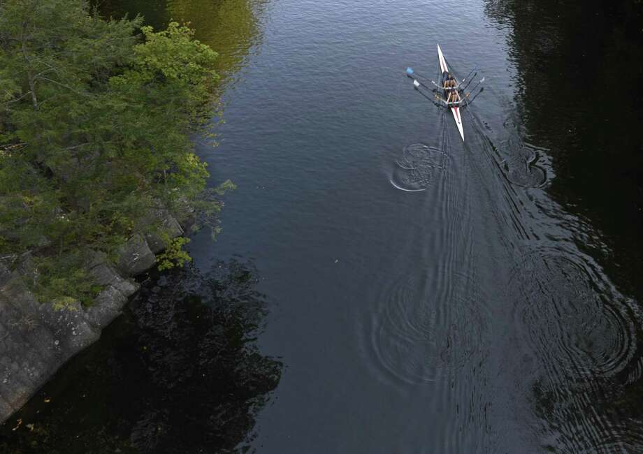 File photo of rowers on the Housatonic River in New Milford, Conn, on Tuesday, October 3, 2017. Photo: H John Voorhees III / Hearst Connecticut Media / The News-Times