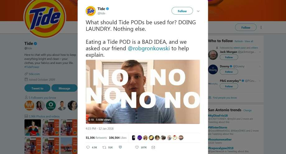 "The so-called ""Tide Pod Challenge"" features youth daring to bite into a laundry detergent pod and post the video on social media. Tide posted a PSA video on its Twitter account with New England Patriots star Rob Gronkowski repeating a finger-wagging No to the idea of eating the detergent. The video has more than 5 million views. Photo: Screenshot"