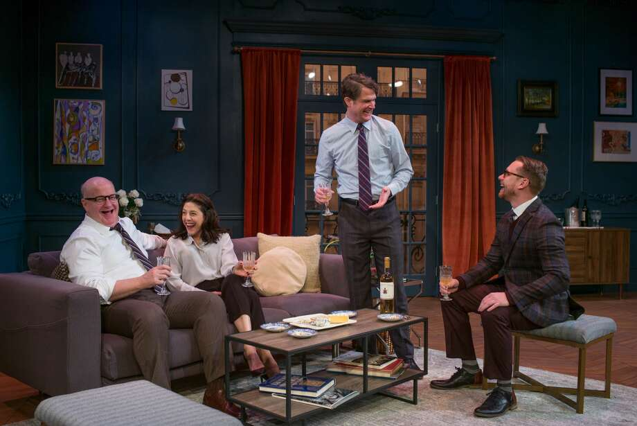 "Among the the cast of ""Paris Time"" at Capital Repertory Theatre, are, from left: Wally Dunn, Kelly Wolf, Marcel Jeannin and Tom Templeton. (Photo by Douglas C. Liebig/Optimum Exposure Photography for The Rep.)"