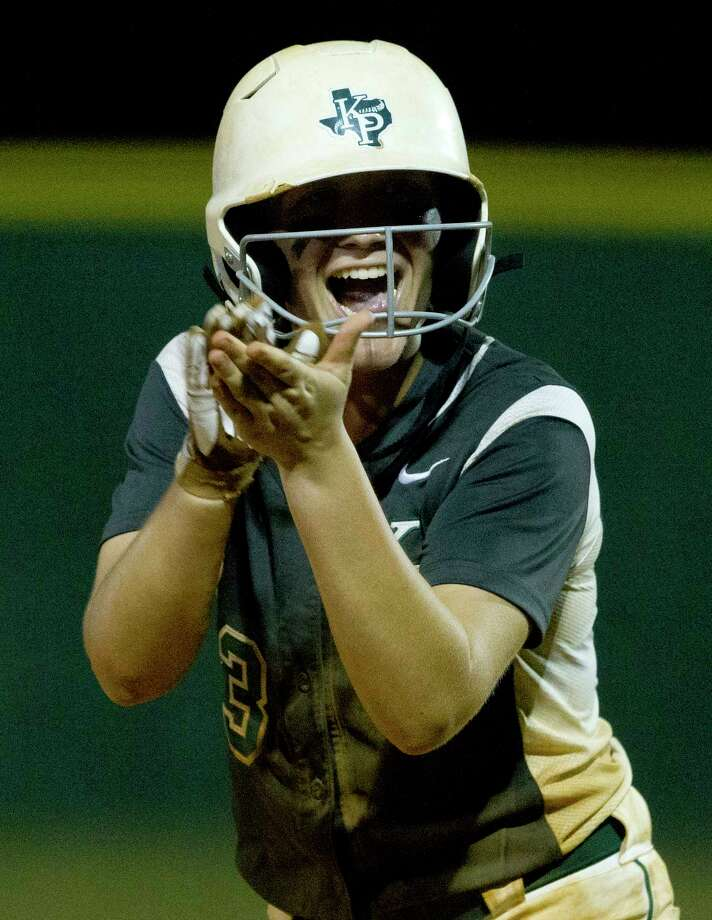 Mackenzie Purcell #3 of Kingwood Park celebrates after hitting a single during the sixth inning in Game 3 of a Region III-5A semifinal series Friday, May 19, 2017, in Willis. Photo: Jason Fochtman, Staff Photographer / © 2017 Houston Chronicle