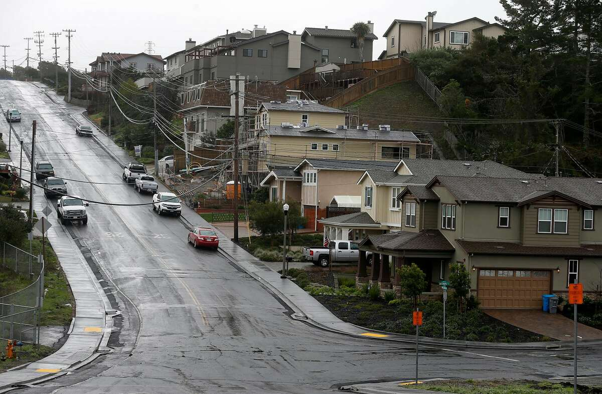 The intersection of Glenview Drive and Earl Avenue, where an underground PG&E gas pipeline exploded seven years ago destroying 38 homes and killed eight people, is seen in the Crestmoor neighborhood of San Bruno, Calif. on Thursday, Jan. 18, 2018. Residents who lost their homes in the Wine Country Fires may face similar challenges when they begin to rebuild.