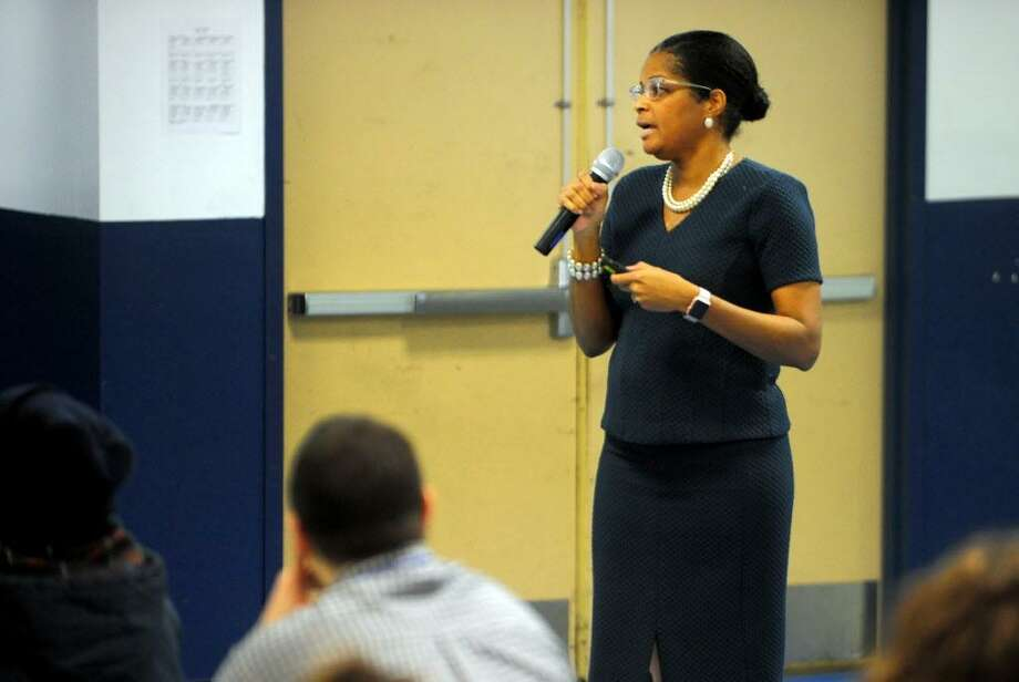 Dr. Aresta Johnson, Interim Superintendent of Schools, leads the first of four community forums held last year to review the proposed city school budget. This year's forums are now set for noon on Saturday Feb. 3 at Tisdale School; 6 p.m. Tuesday, Feb. 6 at Batalla and 6 p.m., Thursday, Feb. 8 at Blackham School. Photo: Christian Abraham / Hearst Connecticut Media / Connecticut Post