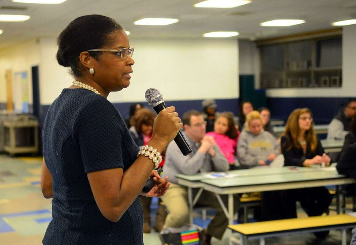 Dr. Aresta Johnson, Interim Superintendent of Schools, leads the first of four community forums held last year to review the proposed city school budget. This year's forums are now set for noon on Saturday Feb. 3 at Tisdale School; 6 p.m. Tuesday, Feb. 6 at Batalla and 6 p.m., Thursday, Feb. 8 at Blackham School.