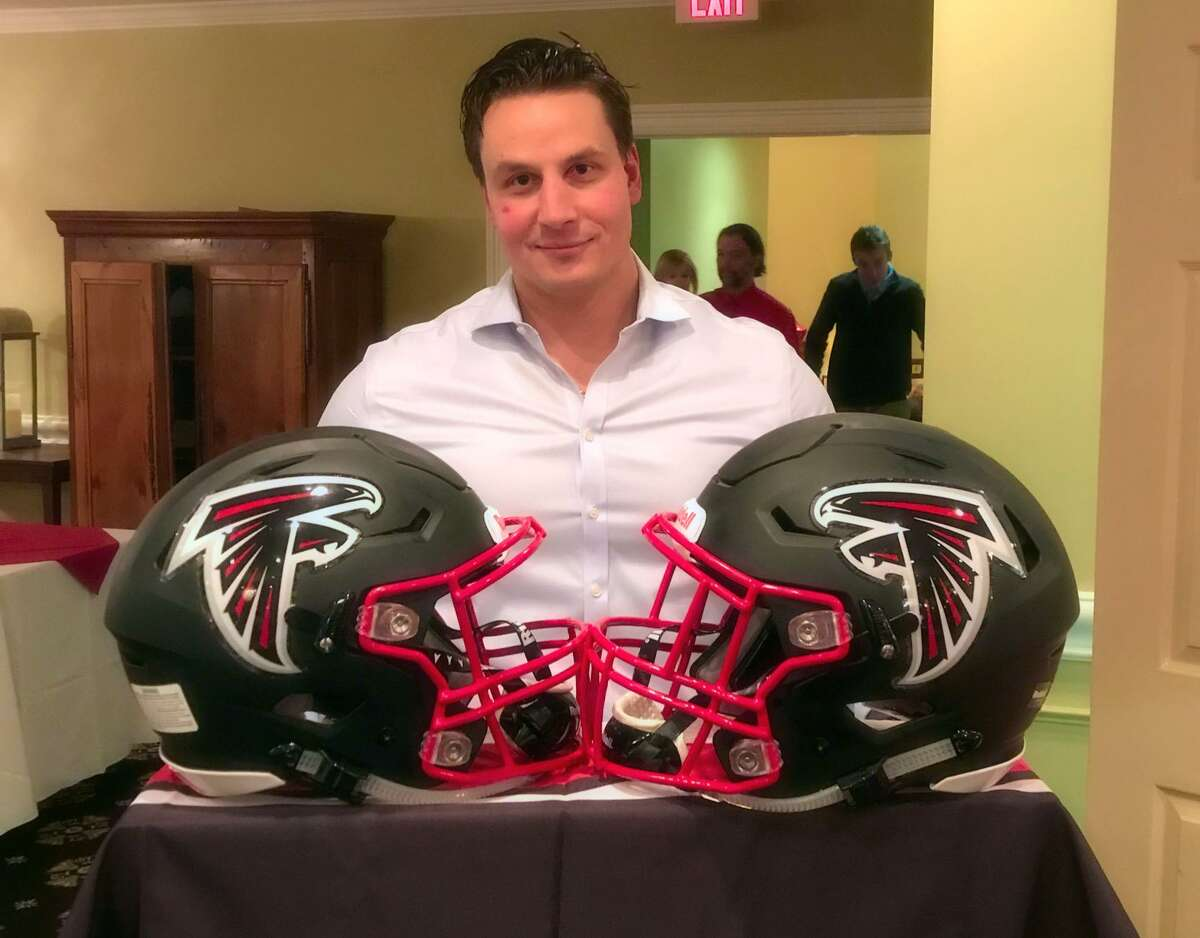 Tom Day, president of the New Fairfield Falcons football program, recently raised $40,000 to purchase Ridell Speedflex helmets for the organization?'s 100 players. The helmets are recognized for new technology that reduces impact to the player.