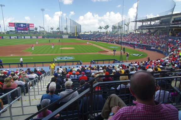 The Houston Astros practice and play during spring training at The Balllpark of the Palm Beaches, which they share with the Washington Nationals.
