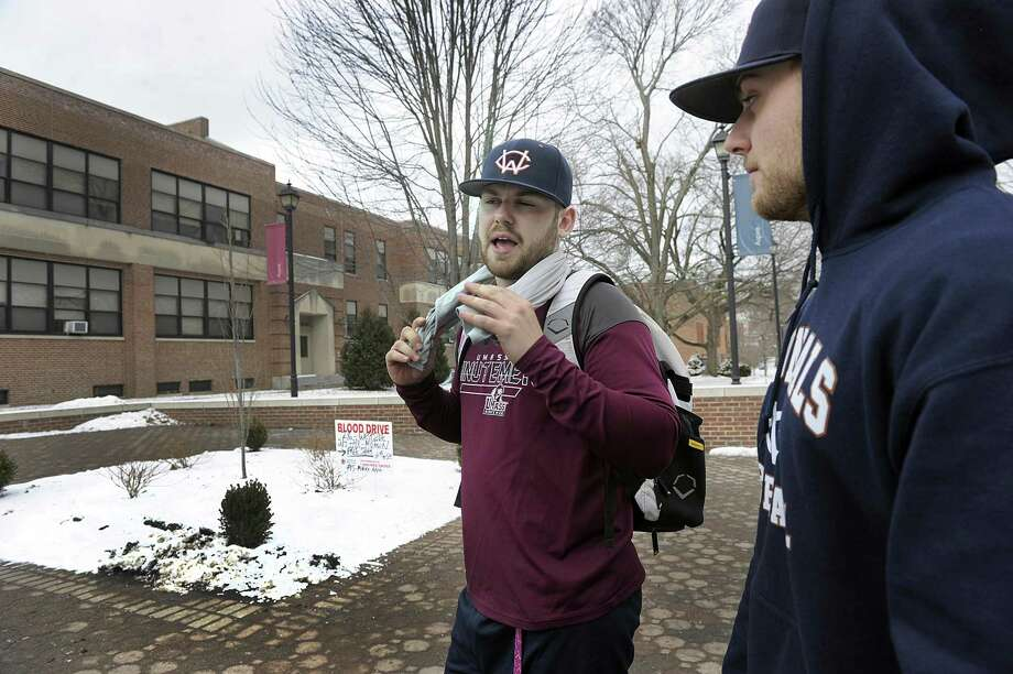 Brendan Pronovost, left, and Kyle MacLean, both Juniors Western Connecticut State University, talk about the scheduling changes and the closing of Higgins Hall on the midtown campus for renovations,  Photo Friday, Feb. 2, 2018. Photo: Carol Kaliff / Hearst Connecticut Media / The News-Times