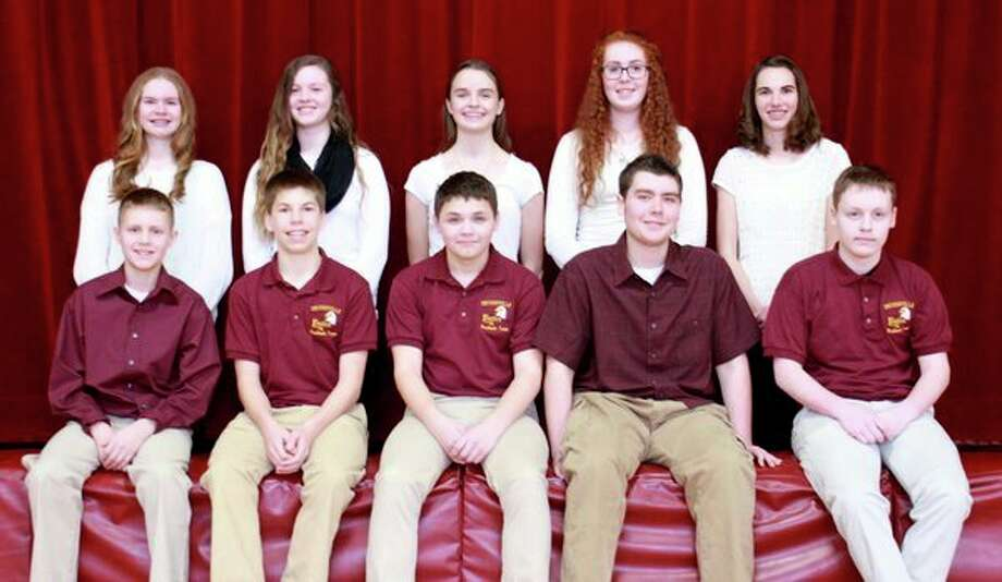 The underclassmen representing Deckerville's Winterfest court consists of (front row from left): Kendall Dumaw, 7th grade, Cameron Stone, 8th grade, Adam Eugster, 9th grade, Brady Fagan, 10th grade, Sean Eugster, 11th grade; (Back row from left): Maddy Garza, 7th grade, Jenna Park, 8th grade, Abigail Sanford, 9th grade, Emma Beaver, 10th grade, and Rachel Thompson, 11th grade. (Jackie Salowitz, Tribune Recorder Leader/Submitted to the Tribune)
