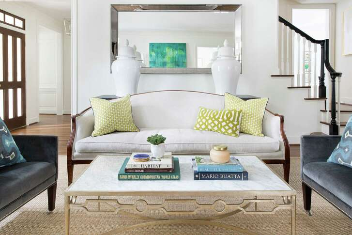 The living room in the River Oaks home of Susan Hess. Design by Jennifer Barron Interiors.