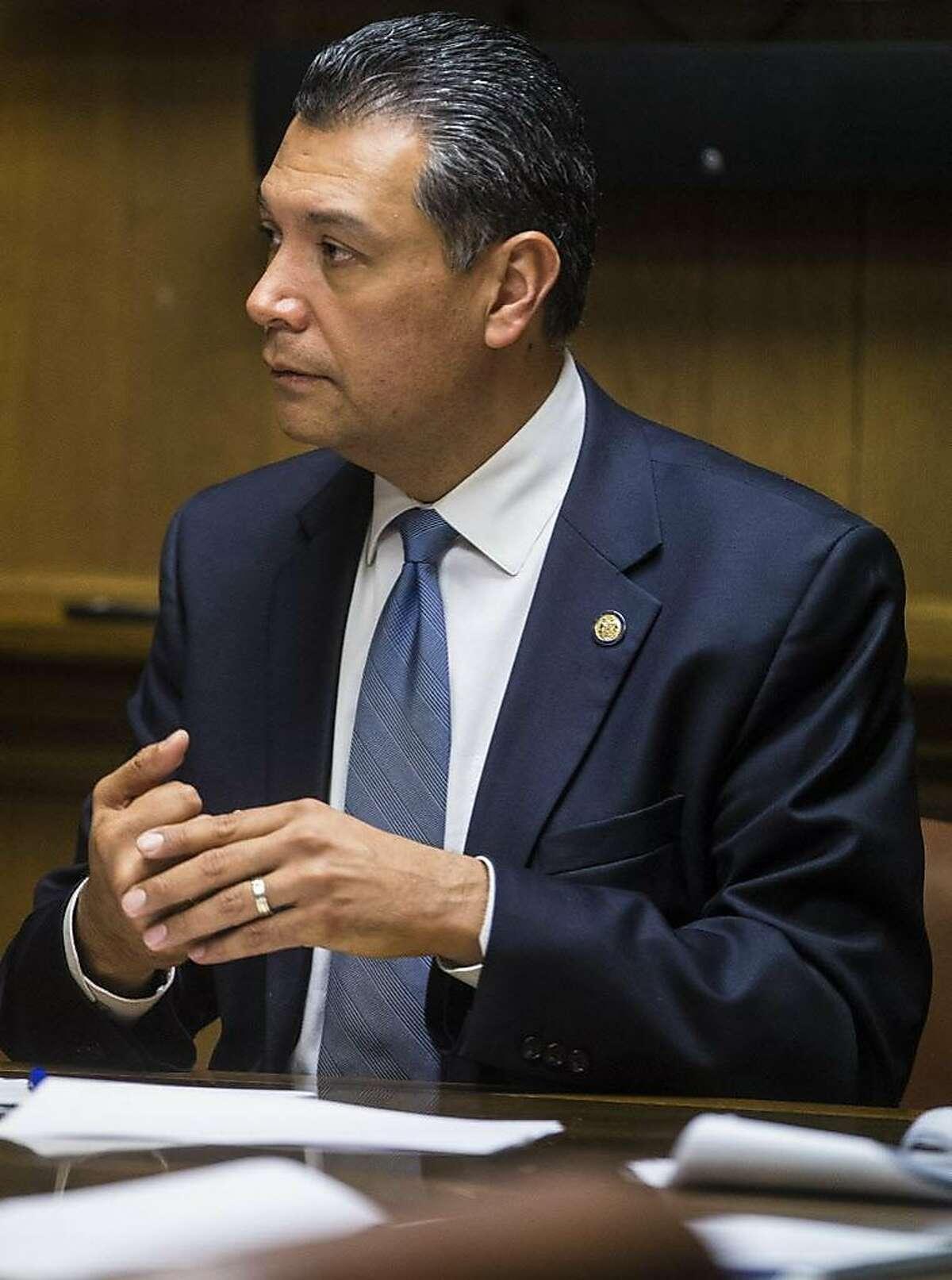 California Secretary of State Alex Padilla speaks to the San Francisco Chronicle editorial board Tuesday, Jan. 30, 2018 at the San Francisco Chronicle newsroom in San Francisco, Calif.