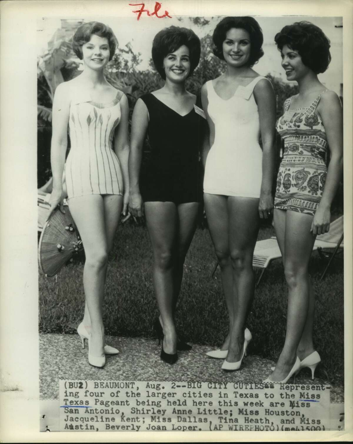 Aug. 2, 1961: Representing four of the largest cities in Texas to the Miss Texas pageant being held here this week are Shirley Anne Little (Miss San Antonio); Jacqueline Kent (Miss Houston); Tina Heath (Miss Dallas), and Beverly Joan Loper (Miss Austin).