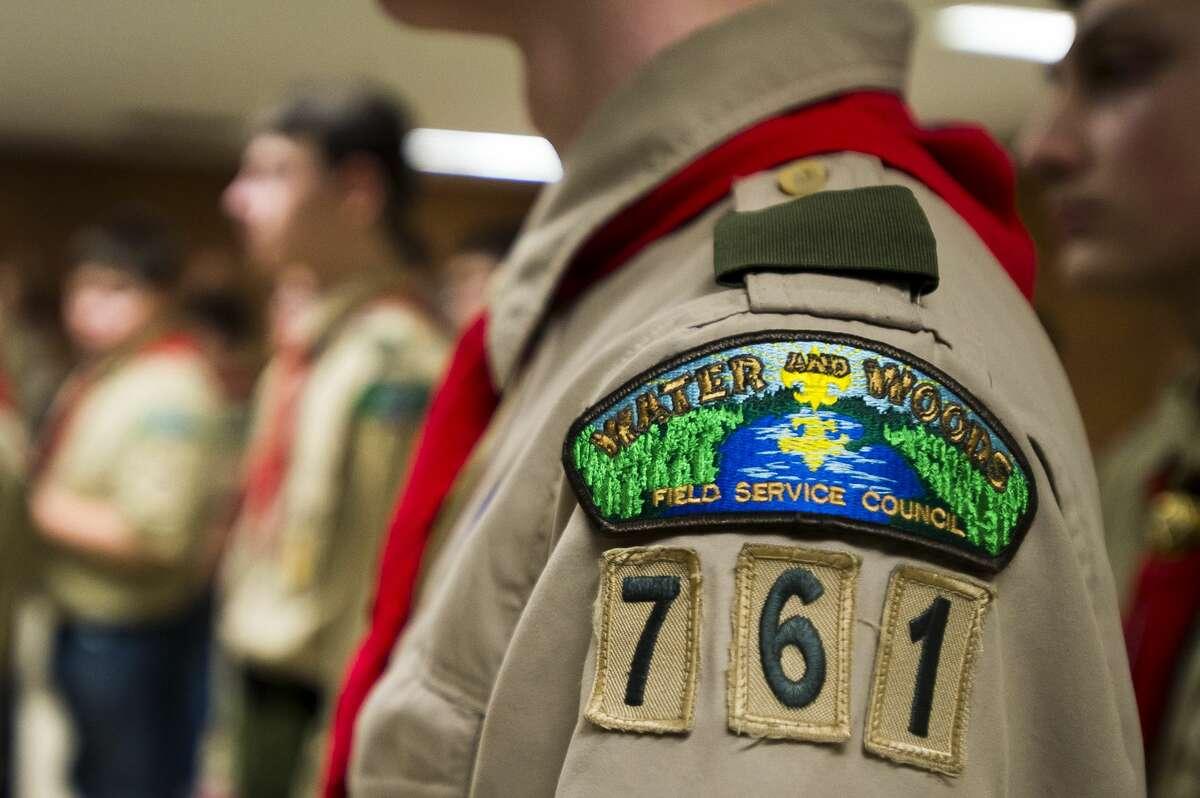Members of Boy Scout Troop 761 listen to their troop leader during a troop meeting on Friday, Jan. 23, 2018 at First United Methodist Church. (Katy Kildee/kkildee@mdn.net)