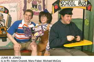"""Junie B. Jones, The Musical"" comes to Westport Country Playhouse for two performances on Feb. 11. From left, are Adam Overett, Mary Faber as Junie and Michael McCoy."