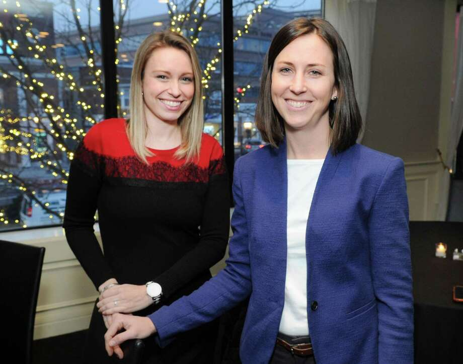 First-time Democrat candidates for the Connecticut General Assembly, Caitlin Clarkson Pereira, left, running for the 132 Connecticut State House District seat, representing Southport and Fairfield, and Ashley Gaudiano, running for the 134 Districtseat, representing Fairfield and Trumbull, during a Women Belong in the CT House Democratic Fundraiser at Quattro Pazzi in Stamford, Conn., Wednesday, Jan. 31, 2018. Photo: Bob Luckey Jr. / Hearst Connecticut Media / Greenwich Time
