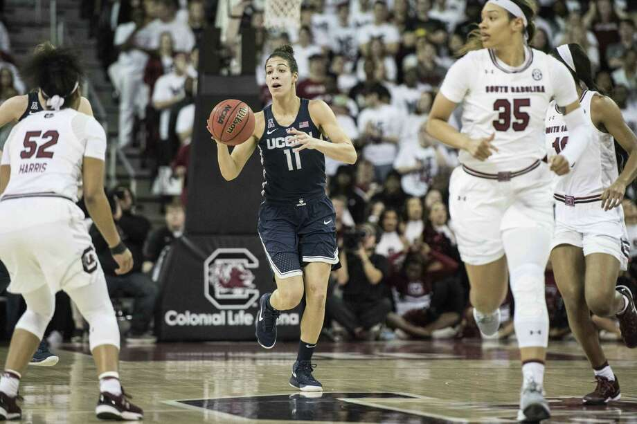 Kia Nurse (11) and the UConn women's basketball team has won eight straight road games against opponents ranked in the top 10. Photo: Sean Rayford / Associated Press / The Associated Press