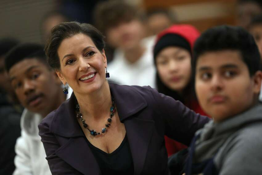 Oakland Mayor Libby Schaaf looks on during an assembly at Edna Brewer Middle School about the U.S. Constitution on Jan. 19, 2018 in Oakland. Schaaf discussed the U.S. Constitution with middle-schoolers a day after she said she would be willing to go to jail to defend Oakland's sanctuary city policy.