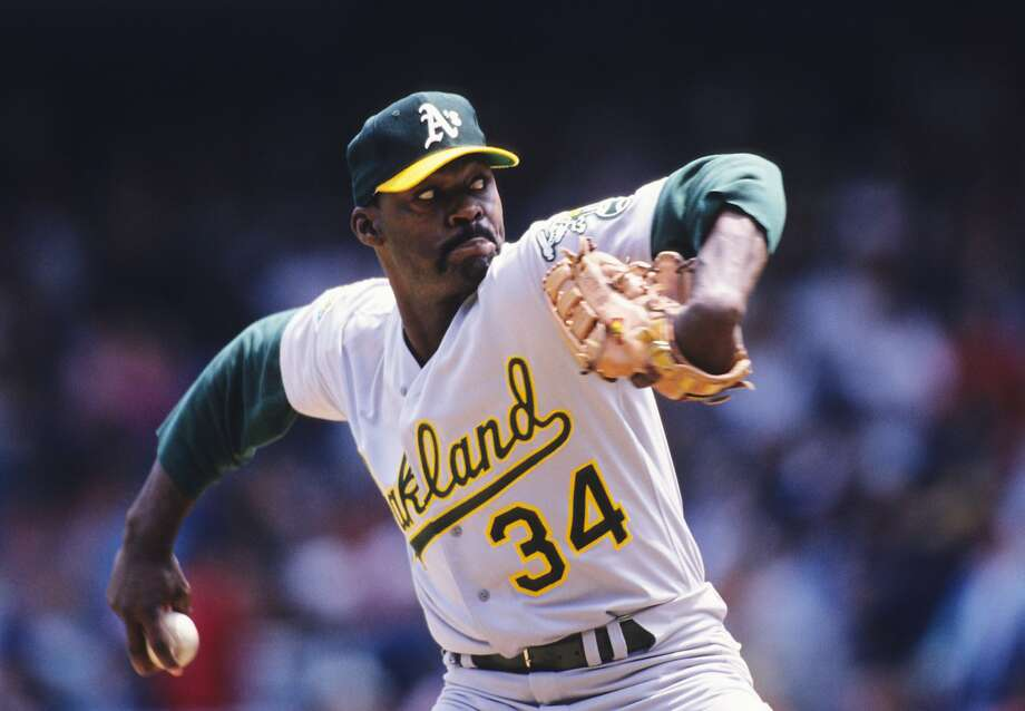 BRONX, NY - MAY 17:  Dave Stewart #34 of the Oakland Athletics pitching in a MLB game against the New York Yankees on May 17, 1992 in the Bronx, New York.  (Photo by Ronald C. Modra/Sports Imagery/Getty Images) Photo: Ronald C. Modra/Sports Imagery, Getty Images
