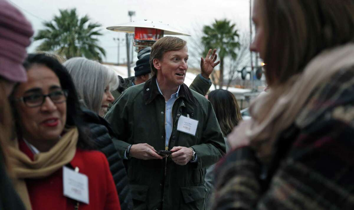 Democratic candidate Andrew White mingles at MOVE San Antonio's Millenial Civic Happy Hour Location at Dorcol Distributing, 1902 South Flores Street on Wednesday, January 17, 2018 in San Antonio, Texas.