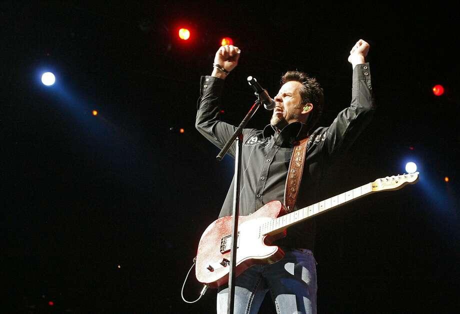 """In a black leather coat with a winged skull on the back and flanked by electric guitar players, California country singer Allan rocked the rodeo in 2016 with hits such as """"Watching Airplanes"""" and """"Get Off on the Pain."""" Since debuting in 1996 with the album """"Used Heart for Sale,"""" the L.A. County native has had a handful of No. 1 hits, including """"Nothing on But the Radio"""" and """"Every Storm (Runs Out of Rain)."""" Allan released a new single, """"Mess Me Up,"""" last year and reportedly is at work on a new album. Photo: Kin Man Hui /San Antonio Express-News / kmhui@express-news.net"""