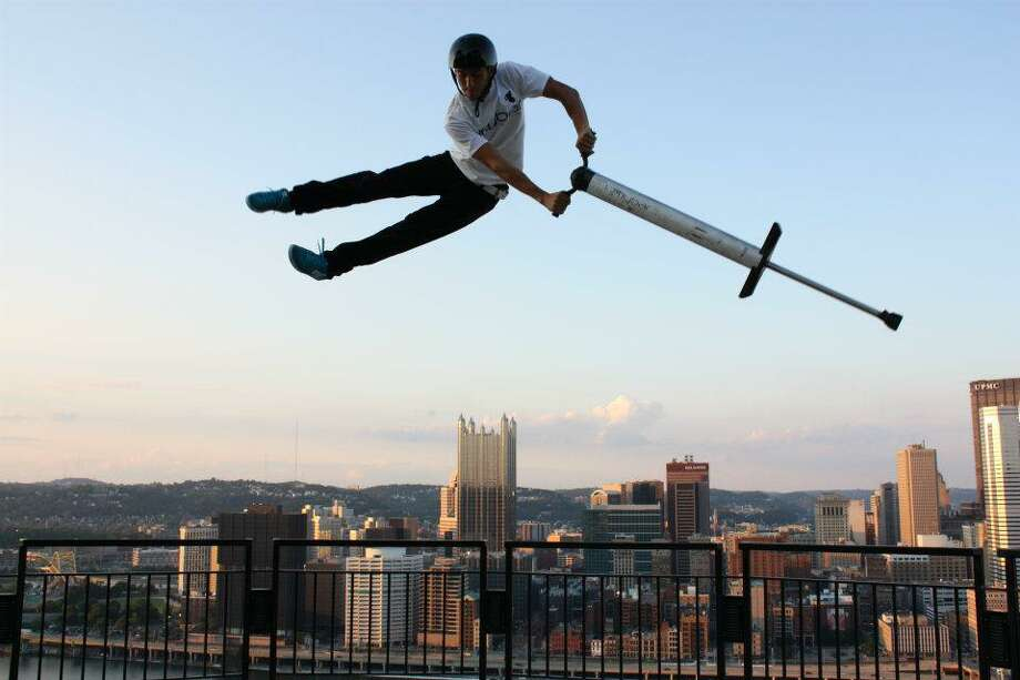 The Xpogo Stunt Team will perform its extreme pogo stick antics at the San Antonio Stock Show & Rodeo for the first time this year. Photo: Courtesy Stamford Advocate / Stamford Advocate Contributed photo