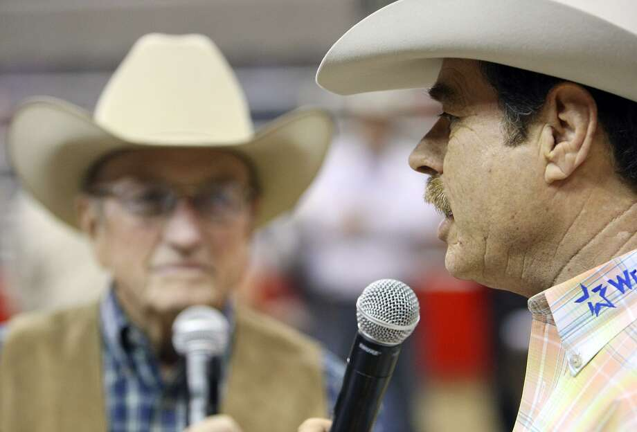 Rodeo announcers Hadley Barrett (left) and Randy Corley announce the Exceptional Rodeo during 60th annual San Antonio Stock Show & Rodeo Feb. 13, 2009, at the AT&T Center. Photo: Edward A. Ornelas / San Antonio Express-News / eaornelas@express-news.net