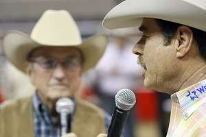 Rodeo announcers Hadley Barrett (left) and Randy Corley announce the Exceptional Rodeo during 60th annual San Antonio Stock Show & Rodeo Feb. 13, 2009, at the AT&T Center.