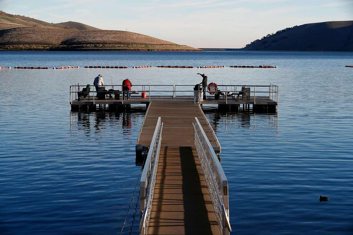 A beautiful day for fishing at Los Vaqueros Reservoir in Brentwood, Calif., on Friday Feb. 2, 2018. Los Vaqueros is among the bodies of water in northern California scheduled to be stocked with trout.