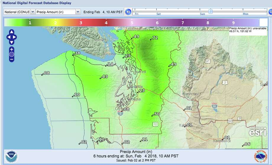 Rainy weather isn't expected to relent through the weekend, with heavy rain in the Cascades Saturday night, possibly driving area rivers to flood stage or beyond. Photo: NOAA