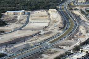 Construction on U.S. 281 looking north north of Loop 1604 is seen in a Thursday, Feb. 1, 2018 aerial photo.