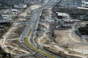 Construction on U.S. 281 looking south north of Loop 1604 is seen in a Thursday, Feb. 1, 2018 aerial photo.