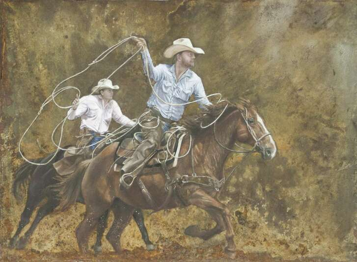 """""""Rusty Ride,"""" which was created by Victoria West High School student Sana Saif, was named the Grand Champion in the San Antonio Stock Show and Rodeo's Student Western Art Contest. In addition to be auctioned off, the piece will be featured on the cover of the rodeo's souvenir programs."""