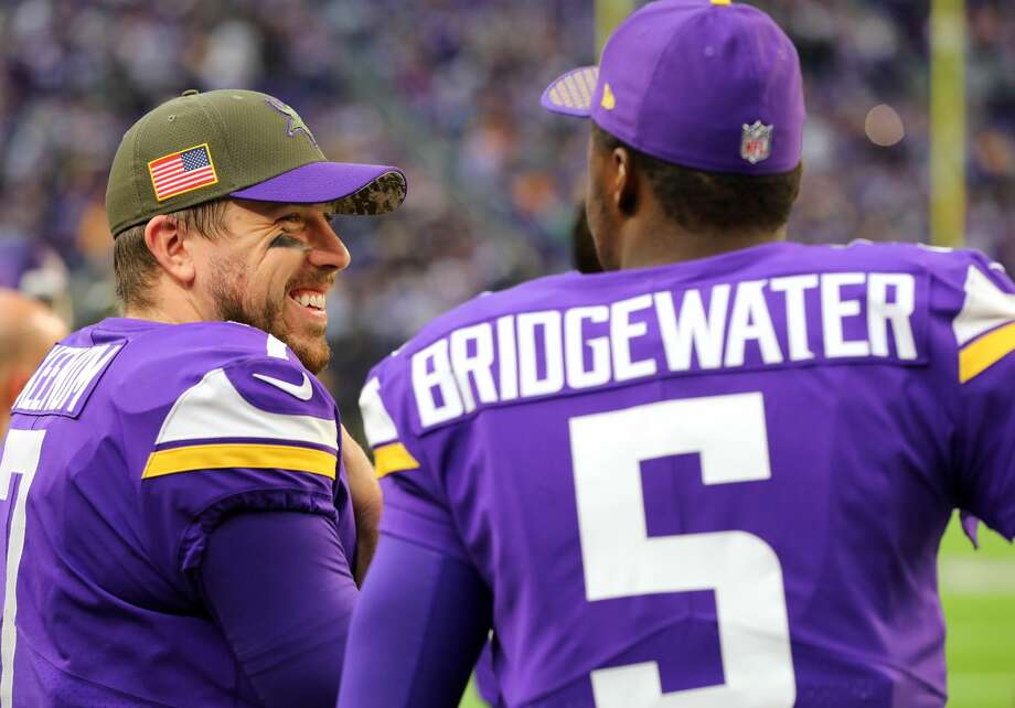 Case Keenum led the Vikings deep into the playoffs, but they have decisions to make with the crowded QB field of him, Teddy Bridgewater and Sam Bradford. Photo: Adam Bettcher/Getty Images