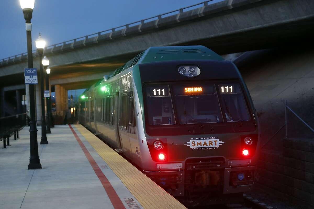 A SMART train leaves the Novato San Main station in Novato, Calif., on Wednesday, January 31, 2018.