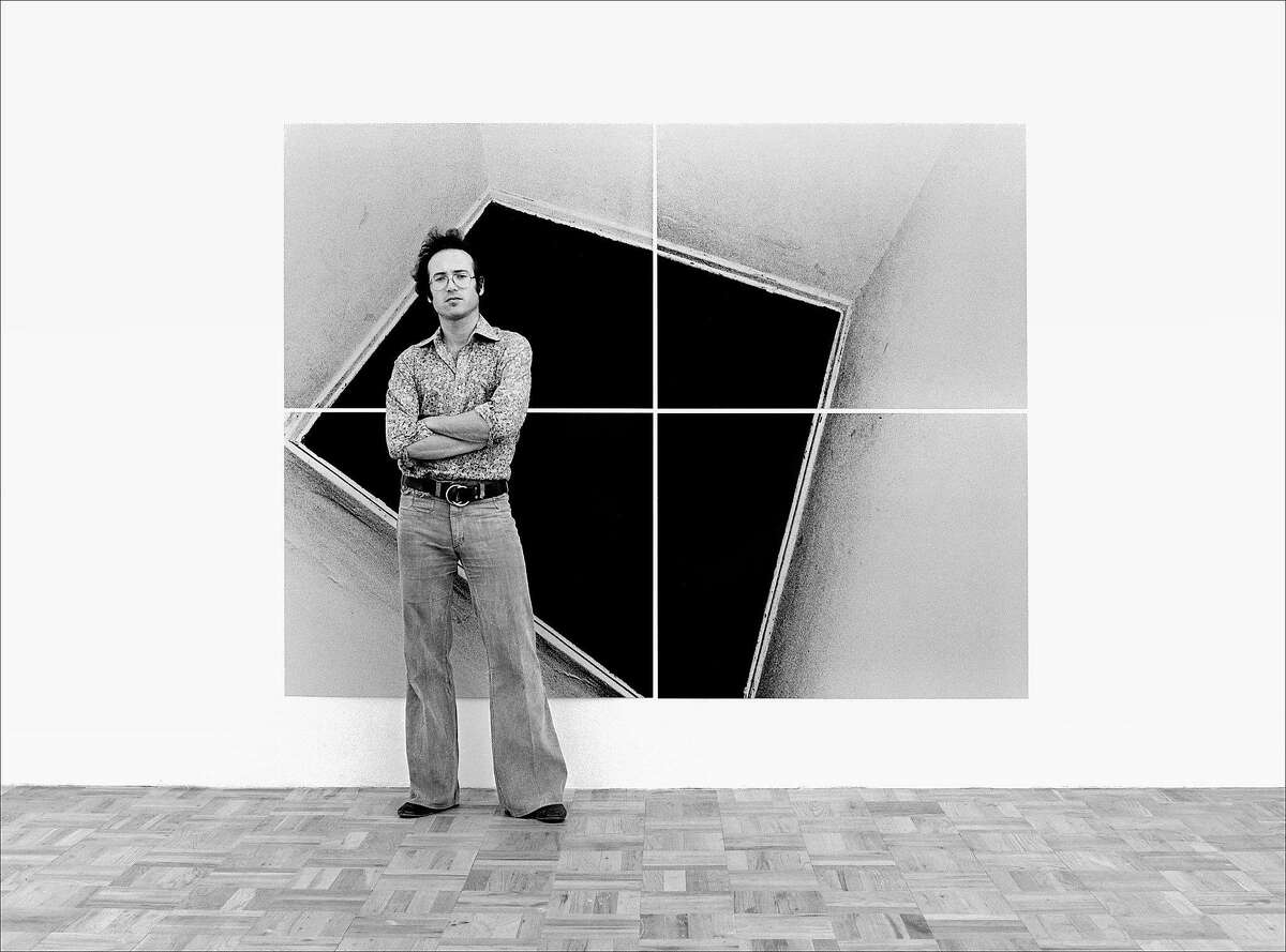 Steve Kahn in front of one of his mural-size works, photographed�in 1976 at Gagosian Gallery, and again in 2016 at Casemore Kirkeby.